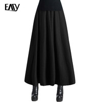 Office Lady Skirt Autumn Winter Skirt Femininos Saias Longas High Waisted Women Long Skirt Warm Solid Woolen Maxi Swing Skirts