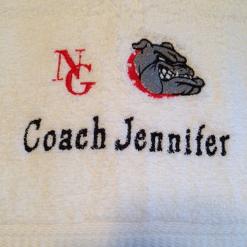 BATH Towel Personalized COACH design - luxury White Cotton