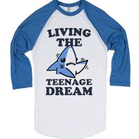 Living the Teenage Dream-Unisex White/Lake Blue T-Shirt