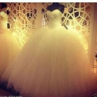 Ball Gown Bridal Wedding Dresses Gowns with Beads Custom Size 0 2 4 6 8 10 12