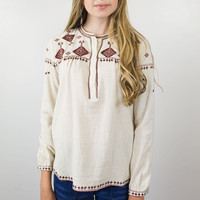 Wine Embroidered Blouse