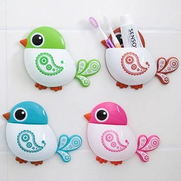 Bathroom Accessories Toothbrush Holder Creative Bird Pattern Suction Cup Toothbrush Holder House Storage Tool