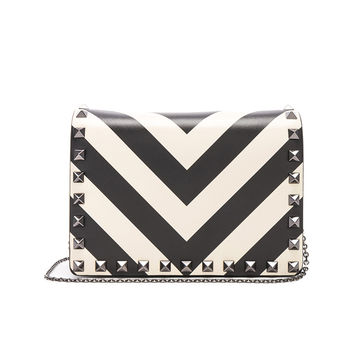 Valentino Rockstud V Stripe Pouch in Light Ivory & Black | FWRD