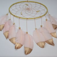Dreamcatcher Blush and Gold Feathers , Girls Bedroom Decor, Bohemian Wall Decor, Boho Dream catcher