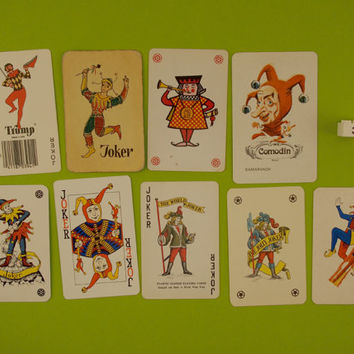 Vintage Joker playing cards. 9 Joker card collection, trump cards, clowns, jesters, colour illustration, Man cave decor, Bar decoration.