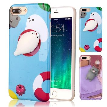 2017 Hot selling Decompression Squishy 3D Cute Animal panda Seal Knead Soft TPU Gel Case Cover For iPhone 7 / 7plus