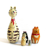 Animal Nesting Dolls or stacking dolls - Set of 5 - 7 inches tall
