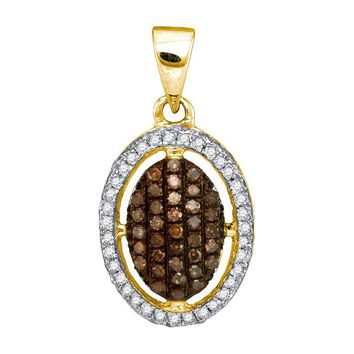 10kt Yellow Gold Womens Round Cognac-brown Colored Diamond Halo Cluster Pendant 1/3 Cttw