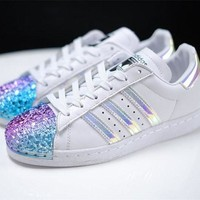 adidas Originals White Superstar 80S Trainers With Colorful 3D Metal Toe Cap Sneakers Sport Shoes G