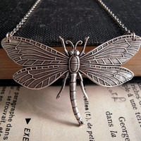 Silver Dragonfly Necklace by Saout on Etsy