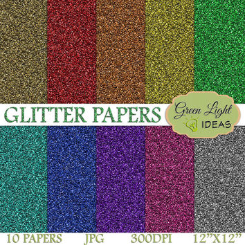 Rainbow Glitter Digital Paper Pack, Glitter Printable Paper, Glitter Digital Texture, Glitter Scrapbook Texture, Glitter Paper Background