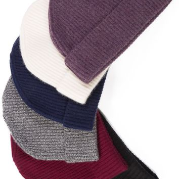 Women's 100% Pure Cashmere Ribbed Knit Hat