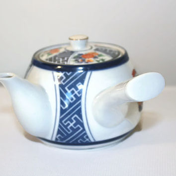Side Handle Japanese Teapot, Kyusu Style Tea Server, Orange Chrysanthemum