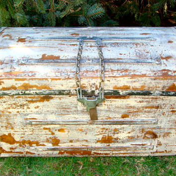 FABULOUS Antique Steamer Trunk with White Milk Paint, Metal and Faux Fur