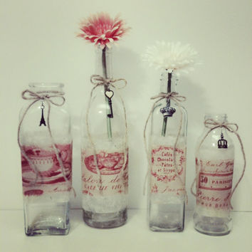Wedding Vase,Wedding Decor,French Country Wedding,Flower Bottle,Flower Vase,Tall Glass Bottle, Shabby Chic Wedding