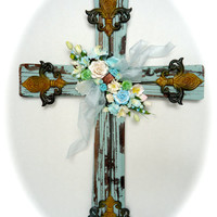 Decorative Wooden Cross with Mulberry Paper Flowers - Light Blue Distressed Door or Wall Cross with Blue and White Flowers