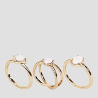 ASOS CURVE Pack of 3 Fine Faux Opal Stone Rings at asos.com