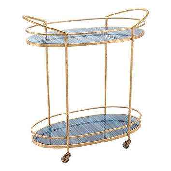 A10807 Zaphire Bar Cart Blue & Antique Gold