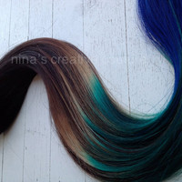 "Peacock Ombre, Black or Dark Brown clip in hair extensions with  green and blue,  7 Pieces,22""/Customize your Base."