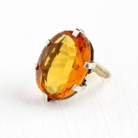 Simulated Citrine Ring - Vintage Art Deco Sterling Silver Large Orange Glass Stone Statement - Adjustable Size 5 November Birthstone Jewelry