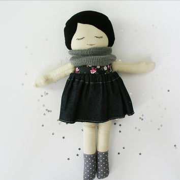 Modern Fabric Rag Doll with Black Hair, Knit Scarf, Floral Shirt, and Denim Skirt Fall Winter Cold Weather