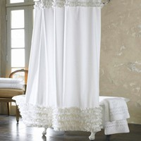 Waterproof Bathroom Shower Curtain Moldproof Solid Polyester Fabric Lace Bath Curtain Elegant Cortina +12 Hooks