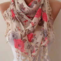 Beige Pink and Elegance Shawl / Scarf with Lace by SwedishShop