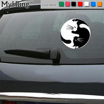 15*15CM Yin And Yang Cat Car Stickers Door Decoration Vinyl Decal Personalized Automobile Sticker Bumper Accessories Car Styling