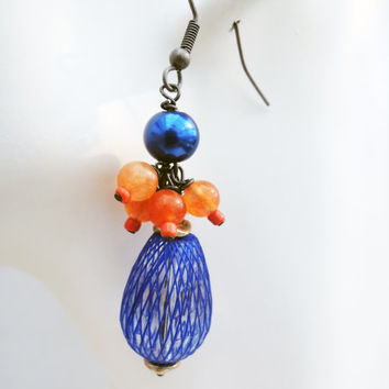 Blue and Orange Dangle Cluster Earrings Handmade by Lindsey - Antiqued Silver Findings - Agate Beads - Bears Jewelry - Navy Blue Pearls