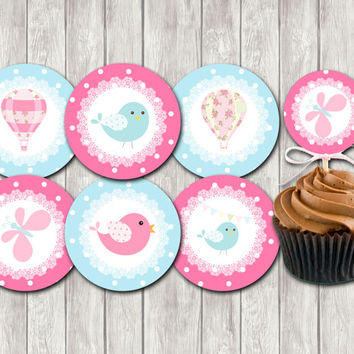 Hot Air Balloon  Baby Shower Cupcake Toppers Printable Party  Cupcake Toppers DIY Party Toppers pink and light blue