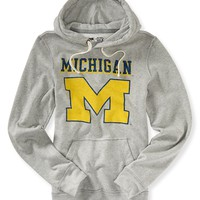 Aeropostale Mens University of Michigan Popover Hoodie - Gray,