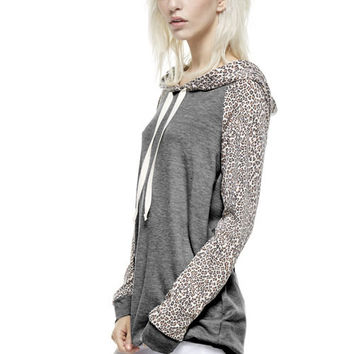 Charcoal Hoodie w/ Cheetah Sleeves *MADE IN USA*