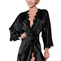 Luxury Women Silk Long Sleeve Nightwear Satin Dressing Gown Robe Deep V-Neck Lace Sleepwear  Lingerie