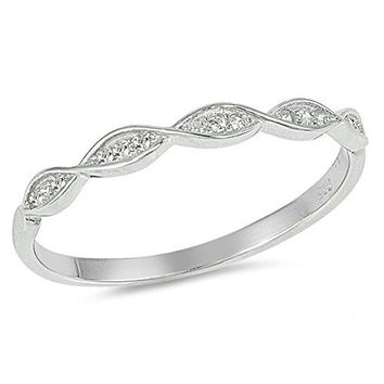 White CZ Thin Stackable Infinity Wedding Ring Sterling Silver Band Sizes 410