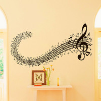 Vinyl Wall Decals Note Notes Waves Musical Sign Treble Clef  Decal Sticker Home Decor Art Mural Z665