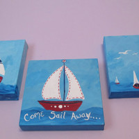 Nautical Art Set, Sailboat, Ship, Lighthouse, Painting on canvas, Bathroom Decor, Red, White, Blue