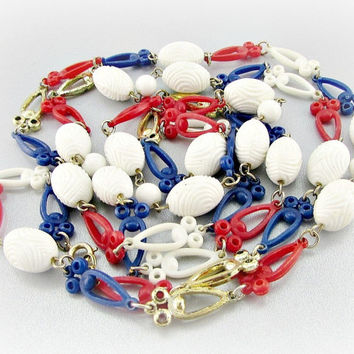 Vintage Long Patriotic Necklace, Red White and Blue Necklace, Plastic Beaded Necklace, Memorial Day, 4th of July Jewelry, 80s Retro Jewelry