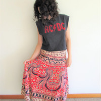 Vintage Red and Navy Indian Boho Hippie Peacock Ethnic Wrap Skirt