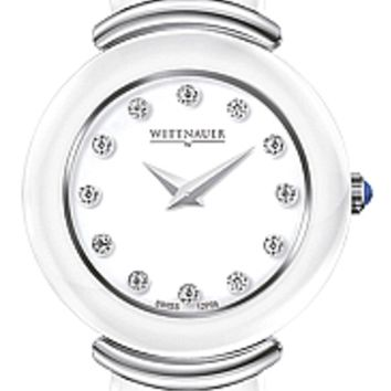 Wittnauer Ceramic Collection Women's Sapphire White Ceramic Diamond Watch 12P06