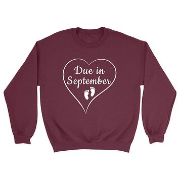 Due in September pregnancy announcement baby reveal baby shower Mother's day gift Crewneck Sweatshirt