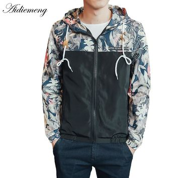 Windbreaker Jackets Mens Hooded Jacket Sportswear Bomber Jacket Fashion Light Weight Flowers Casual Mens jackets Coats Outwear