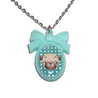 Mint Green Cameo Necklace, Pug Dog, Kawaii Polka Dot