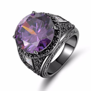Amethyst Black Ring - Men/Women