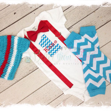 BOYS Personalized FIRST BIRTHDAY 3 Pc Outfit-Boys Birthday Bodysuit with Turquoise Chevron 1, Red Suspenders and Bow Tie,