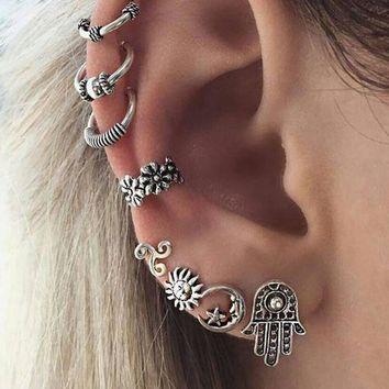 Five styles Women Fashion Bohemian Retro Sun Moon Hand Caved Flower Pendant Hollow Earrings Ear Stud Set #247037