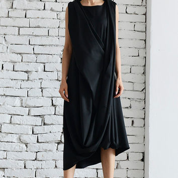 Long Black Dress / Sleeveless Loose Dress / Long Black Tunic / Black Kaftan / Summer Sleeveless Dress by METAMORPHOZA