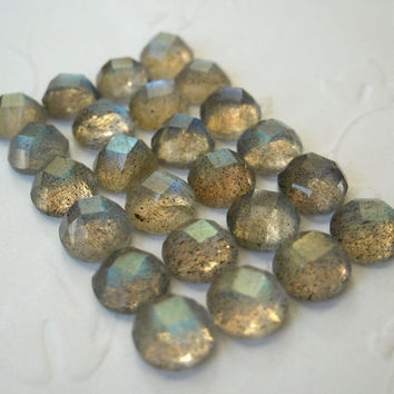 Gemstone Cabochons Natural Labradorite Checkerboard Round 8mm loose gemstone - FOR ONE