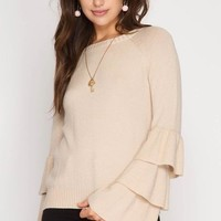 Winter Chic Ruffle Sweater - Taupe