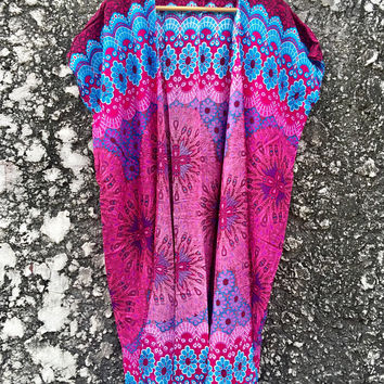Hippie Long Cardigan Tribal Festival Hippie Gypsy Bohemian Peacocks style Dress Top Kimono Beach Cover Up Summer Gifts Men women Unique Cool