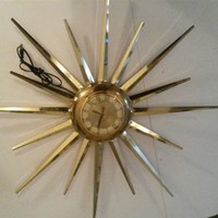 Mid Century Modern United Atomic Starburst Brass Wall Clock Electric #930
